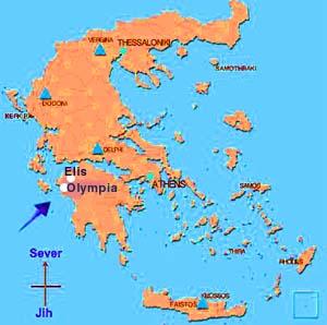 Mapa Řecka (Olympia a Elis)